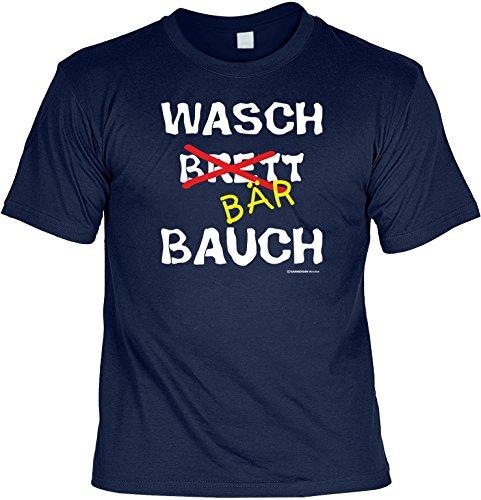 Lustiges Sprüche T-Shirt mit Gratis Urkunde WASCH BÄR BAUCH Geschenkartikel Geschenkidee Fun T-Shirt Fun Shirt Navy-Blau