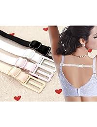 4PCS Femmes filles réglable antidérapant Bra Strap titulaire pour bretelles de soutien-gorge Largeur 1.2 1.5 1.8 cm Couleur de peau noir blanc rose