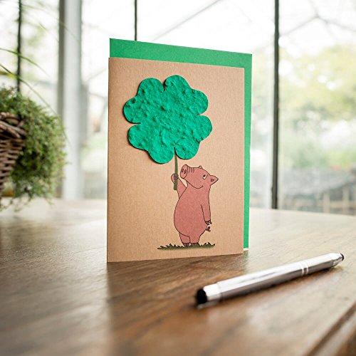 """Grusskarte """"Viel Glück"""" - Aus dem Kleeblatt wachsen Blumen"""