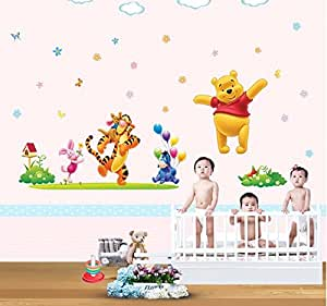Sala della Galleria di arte della tela-fai da te Home Decor Art smontabile Adesivo Kid e Nursery Cartoon Winnie the Pooh Stickers murali # WM120
