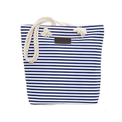 LA HAUTE Womens Fashion Stripes Canvas Tote Handbag Three-color Stitching