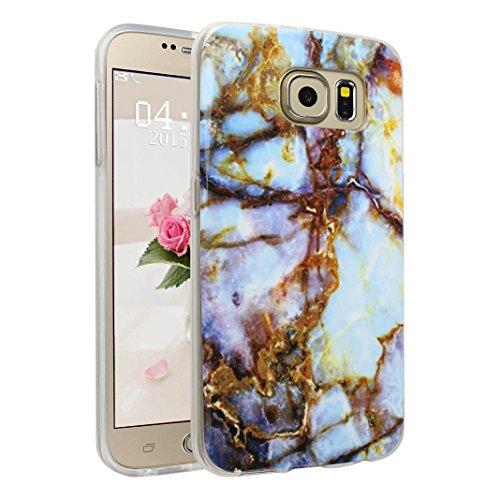 Handyhülle Galaxy S6 Marmor, Asnlove Silkon Galaxy S6 G920 Marble Hülle Silicone TPU mit IMD Schale Case Cover Tasche Schutzhülle für Samsung Galaxy S6 G920F, Aquamarin Color-14