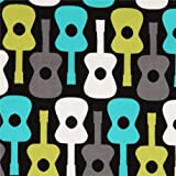 schwarzer Gitarren Stoff von Michael Miller aus den USA