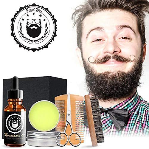 Bartpflegeset für Herrenpflege, leegoal Bartkamm- und -bürsten-Kit, Bartöl, Bartbürste, Kamm mit zwei Zähnen, Schnurrbart & Bartbalsam-Butterwachs, Friseurschere mit Geschenkbox