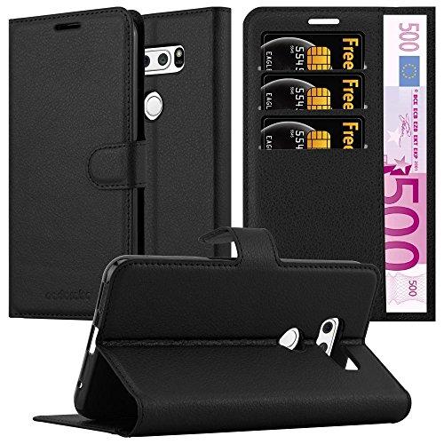 Cadorabo Hülle für LG V30 - Hülle in Phantom SCHWARZ - Handyhülle mit Kartenfach & Standfunktion - Case Cover Schutzhülle Etui Tasche Book Klapp Style