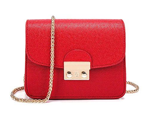 Honeymall Kleine Damentasche Umhängetasche Citytasche Schultertasche Handtasche Elegant Retro Vintage Tasche Kette Band(Rot) -