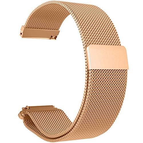 UNMIZ Ersatzband Stainless Steel Bracelet Watch Band Strap for Xiaomi Amazfit Bip Youth Watch Magnet Uhrenarmband(Roségold)