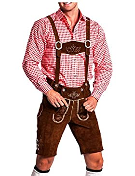 Trachten Herren Lederhose (52, camelbraun)- kurz mit abnehmbaren Hosentr�gern - Trachten Lederhose Oktoberfest...