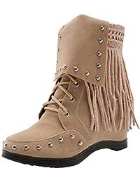 Mujer botas Remache de clavos botas moda fashion,Sonnena ❤️ Zapatos de cuña con punta redonda y punta de gamuza de mujer Pure Color Shoes Botas Casual con cordones