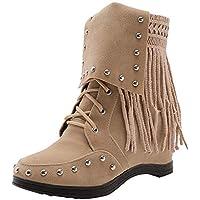 Mujer botas Remache de clavos botas moda fashion,Sonnena ❤️ Zapatos de cuña con punta redonda y punta de gamuza de mujer Pure Color Shoes Botas Martin con cordones