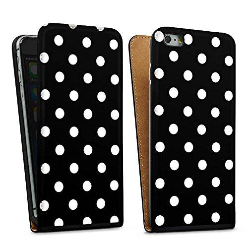 Apple iPhone 5 Housse Étui Silicone Coque Protection Points Noir et blanc Rétro Sac Downflip noir