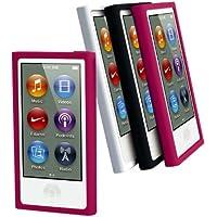 Muvit MURUB0057 - Pack de 3 fundas de silicona + protector de pantalla para Apple iPod Nano 7G (negro, rosa, blanco)