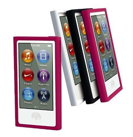 Muvit MURUB0057 Pack de 3 Housses en silicone pour iPod Nano 7G Noir/Rose/Blanc
