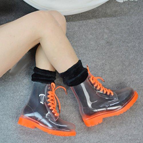 LvRao Damen Hohe Stiefeletten Stiefel Winter Warm Schnee Regen Gummistiefel Schnürung Boots Orange mit Socken