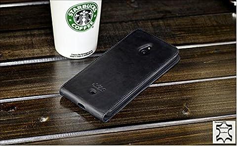 URCOVER® Akira Genuine Leather | Housse de Protection Nokia Lumia 1320 | Cuir Véritable in Flip noir | Étui Coque Mince Fermeture Magnétique Support Á
