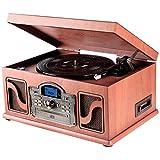Lauson CL146–Giradischi Bluetooth di legno–Funzione Encoding, CD, Vintage, Radio, USB, MP3, 3velocità, 33/45/78rpm con altoparlanti incorporati