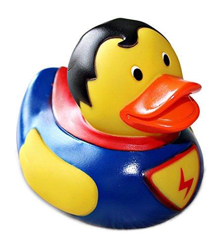 (greetoy Quietscheente 9cm Superman Superheld Badeente Rubber Duck Wasserspielzeug Gummiente)