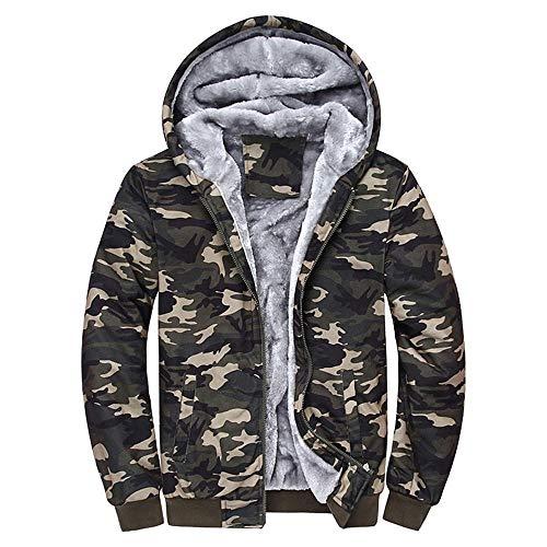 NINGSANJIN Herren Camouflage Kapuzenpullover Hoodie Lang Strickjacke Cardigan Winterpullover mit Kapuze Sweatjacke Zipper (Mehrfarbig,XL)