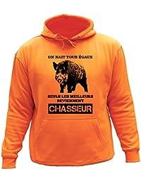 AtooDog Pull Sweat de Chasse, on nait Tous égaux, Seuls Les Deviennent Chasseur, Sanglier