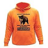 Pull Sweat de chasse,'On nait tous égaux, seuls les meilleurs deviennent chasseur' Sanglier (12-14, Orange)