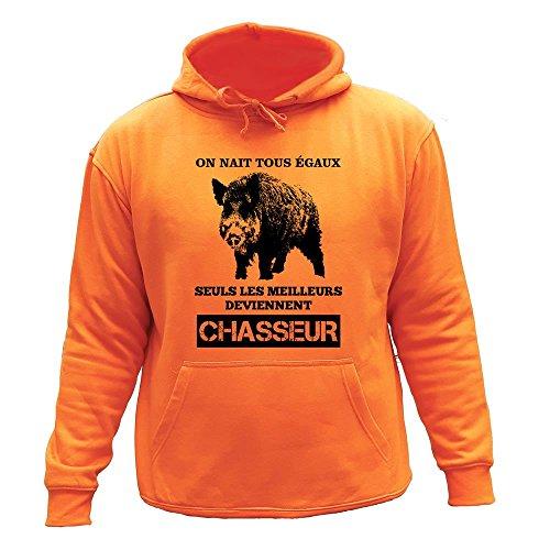 Pull Sweat de Chasse, on nait Tous égaux, Seuls Les Deviennent Chasseur Sanglier (XL, Orange)