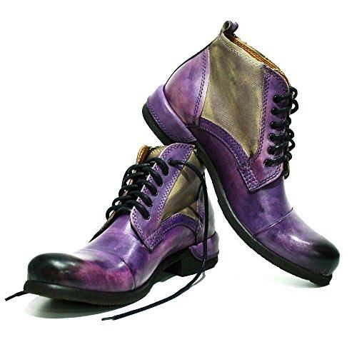Modello Parione - 42 EU - Handgemachtes Italienisch Leder Herren Lila Stiefel Stiefeletten - Rindsleder Handgemalte Leder - Schnüren - Herren Italienische Schuhe Stiefel