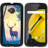 GRECELL CITY GIFT PHONE CASE /// Cellphone Protective Case Hard PC Slim Shell Cover Case for Motorola Moto E2 E2nd Gen /// Deer Forest Trees Art Painting Drawing Animal
