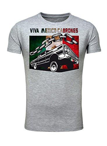 Legendary Items Herren Rundhals T-Shirt Design VIVA MEXICO CABRONES LOWRIDER / Print Spruch Grau