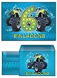12 Einladungskarten zum 6. Kindergeburtstag incl. 12 Umschläge Monstertruck blau / Monster-Truck / Auto / Einladungen zum Geburtstag für Jungen