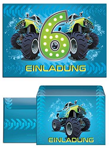 12 Einladungskarten zum 6. Kindergeburtstag incl. 12 Umschläge Monstertruck blau / Monster-Truck / Auto / Einladungen zum Geburtstag für Jungen (Spielzeug Truck Jungen)