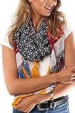 Style Slice Damen Schal Frühling Sommer Geometrisch Floral Blumen Muster, Blau, Türkis, Groß XXL Tuch, Tücher, Schals, Elegante Weiche Schals, Geschenk für sie (Schwarz)