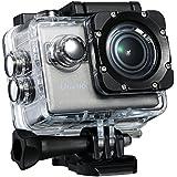 VicTsing Mini Caméra Action avec résolution 4K WiFi Appareil photo Appareil étanche avec 64G TF et lentille de 170° EHD, Sport vidéo sous-marine avec capteur Sony IMX117exmor-r Camera Action Sport jusqu'à 30m avec écran LCD, pour sport extérieure vélo moto ski, argent