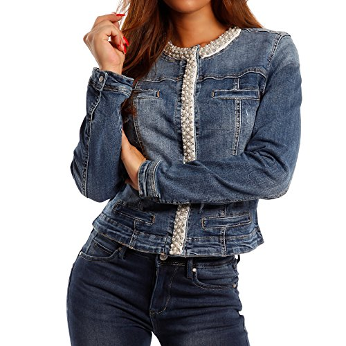 Damen Jeansjacke Jeans Jacket Blouson Strass, Farbe:Jeansblau;Größe:40/L