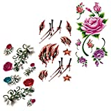 Evtech(tm) 3 Art-bunter Mix Blumenblumen Rose Lotus Chinese Wolf Klaue Stern Blut 3D Temporary Tattoos Hippy-Tattoos Nightclub Überweisung