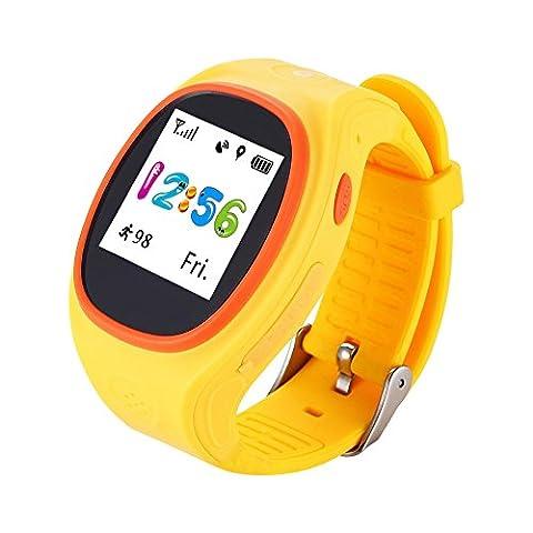 KDLD Bracelet intelligent ® Montre intelligente pour enfants Peace Star SOS Surveillance à distance GPS à long temps GPS Positionnement de précision triple , Yellow