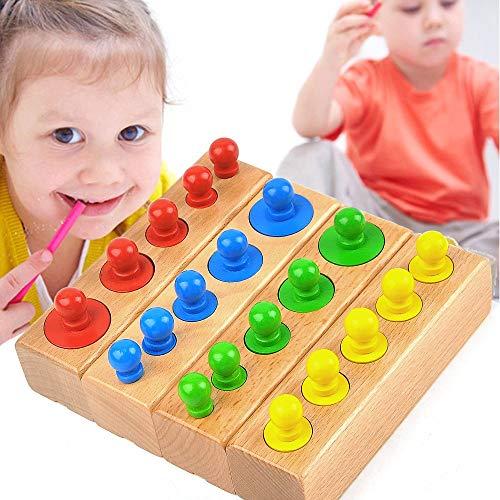 JASHKE Materiales Montessori Bloques de Cilindros Socket de Madera Juguetes Montessori Juguetes educativos Coloridos Niño Bebé Regalo de cumpleaños Regalo