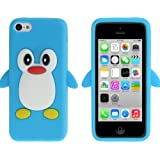 Coque silicone cartoon Pingouin pour iphone 5C bleu
