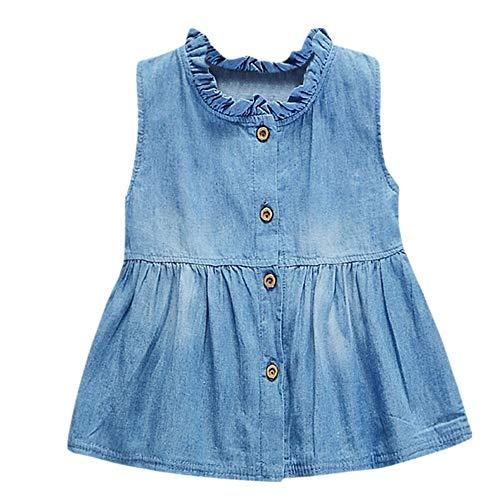ste Rock,Cowboy Kostüm Kleinkind Baby Sleeveless Denim Rock Frühling und Sommer Shirt Modelle Einfarbig Kleider Outfits Sommerkleid Tops Ostergeschenk Festliche Kleider(Blau,XL) ()