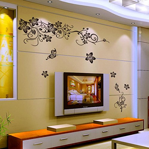 Haupt-lounge (Saingace Wandaufkleber Wandtattoo Wandsticker,Schwarze Blumen entfernbare Wand-Aufkleber, Anhänger Vinylwand -Abziehbild-Haupt)