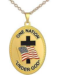 "9ec7adcb64 Fengteng Hombres Collar Bandera Americana Cruz Colgante""One Nation Under  God"" Jesús Cristianismo Ornamentos"