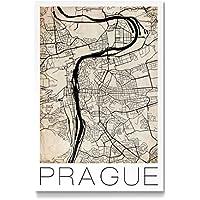 "artboxONE Galerie-Print 60x40 cm ""Retro City Map Prague"" hochwertiges Acrylglas auf Alu-Dibond Bild"