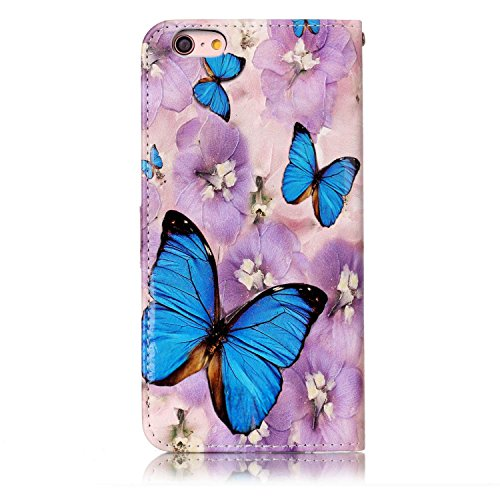 iPhone 6 Plus /6S Plus Coque, Voguecase Étui en cuir synthétique chic avec fonction support pratique pour Apple iPhone 6 Plus /6S Plus 5.5 (Papillon/Fleur bleu)de Gratuit stylet l'écran aléatoire univ Papillon/Fleur bleu