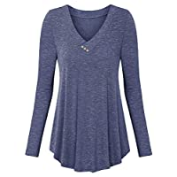 BeLuring Women V Neck Buttons Long Sleeve Tunic Tops T Shirt Blouse
