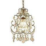 OOFAY Clear K9 Kristall Anhänger Leuchte, Champagner Gold Schmiedeeisen Kronleuchter 3 Licht