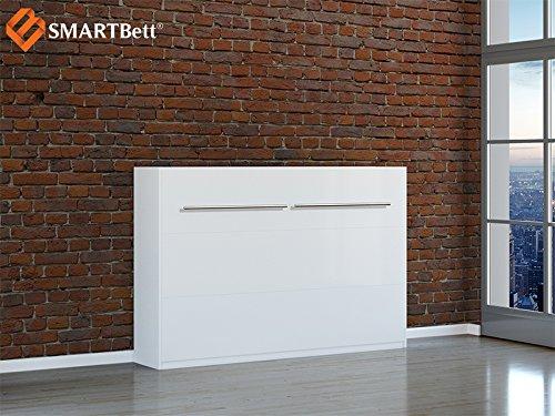 Wandbett SMARTBett horizontal Klappbett Gästebett Schrankbett , Liegefläche 120x200cm, weiß