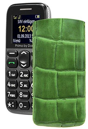Primo 215 by Doro / Original Suncase Etui Tasche Leder Etui Handytasche Ledertasche Schutzhülle Case Hülle Lasche *mit Rückzugfunktion* croco-grün