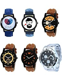 NEUTRON New Designer Love Beard Style Black Blue And Brown Color 6 Watch Combo (B11-B12-B13-B14-B15-B83) For Boys...