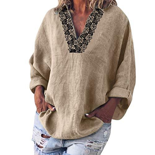 Wtouhe Langarm-Shirt, V-Ausschnitt, Bedruckt, Damen, lässig, Herbst, Winter 2019 Gr. L, Kaki 3
