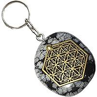 KRIO® - schöner Schneeflocken Obsidian als Schlüsselanhänger/Accessoire mit der Blume des Lebens Applikation preisvergleich bei billige-tabletten.eu