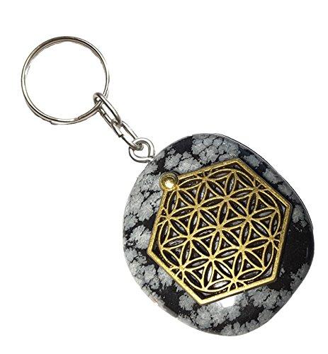 hneeflocken Obsidian als Schlüsselanhänger/Accessoire mit der Blume des Lebens Applikation ()